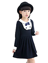 Girl's Going out Solid Dress,Cotton / Others Spring / Fall Blue / Pink / Red
