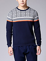 Men's Print Casual Pullover,Cotton Long Sleeve Black / Blue / White / Gray