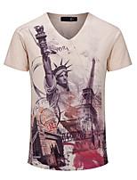 Men's Print Casual / Sport / Plus Sizes T-Shirt,Cotton Short Sleeve-Brown