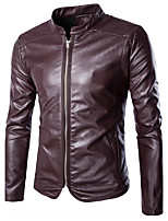 Men's Long Sleeve Casual / Formal / Plus Size Jacket,Special Leather Types Solid Black / Red