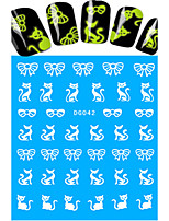 1pcs Nail Art Water Transfer Noctilucent Sticker Beautiful Bow-knot Lovely Cat Decoration Nail Beauty DG-042