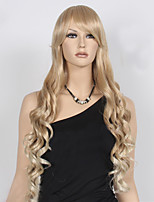 Most Popular Top Quality Blonde Color Long Curly Synthetic Wigs