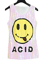 Women's Casual/Daily Simple Summer Tank Top,Print Round Neck Sleeveless Pink / Red / Black Cotton Thin