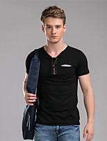 Herr D® Herren Rundhalsausschnitt Kurze Ärmel T-Shirt Schwarz / Grau / Beige-584