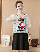 Maternity Casual/Daily Simple Loose Dress,Color Block Round Neck Above Knee ½ Length Sleeve White Polyester Summer