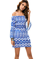 Women's Boat Neck Vintage / Exotic Wind Print Plus Size Sexy Seaside Beach Dress