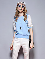 Sybel Going out / Casual/Daily /  Cute Short Pullover,Solid Blue / Pink / White / Black Round Neck ½ Length Sleeve Rayon