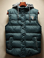 Men's Regular Padded Coat,Polyester Solid Sleeveless