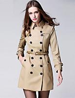 BURDULLY Women's Shirt Collar Long Sleeve Trench Coat Khaki-9288