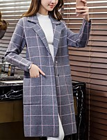 Women's Casual/Daily Street chic Long Cardigan,Check / Gray Notch Lapel Long Sleeve Cotton All Seasons Medium