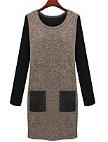 Women's Plus Size Sophisticated Shift Dress,Patchwork Round Neck Above Knee Long Sleeve Brown / Gray Others Winter