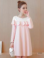 Maternity Holiday Cute Loose Dress,Color Block Round Neck Above Knee Long Sleeve Pink Cotton Fall