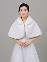 Women's Wrap Capelets Sleeveless Faux Fur Ivory Wedding Rolled collar 40cm Wave-like Lace-up
