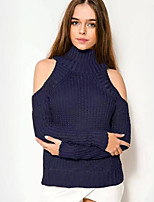 Women's Casual/Daily Simple Off-The-Shoulder Regular Pullover,Solid Blue / White Turtleneck Long Sleeve
