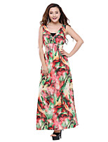 Women's Plus Size Boho Sheath Dress,Print V Neck Maxi Sleeveless Blue / Green Cotton / Polyester Summer