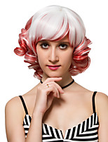destaques vermelhos e brancos de cabelo curto encaracolado, perucas de moda.