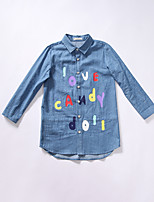 Girl's Casual/Daily Print Dress / Shirt,Cotton Spring / Fall Blue