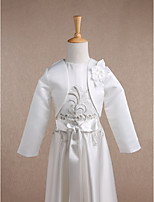 Kids' Wraps Shrugs Long Sleeve Satin Ivory Wedding / Party/Evening Scoop 34cm Flower(s) Open Front