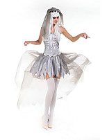 Cosplay Costumes Ghost / Zombie Movie Cosplay Gray Solid Dress Halloween / Christmas / New Year Female Polyester