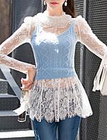 DABUWAWA® Dames Strakke ronde hals Lange mouw Shirt & Blouse Ivoor-D15CBS035