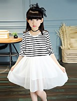 Girl's Casual/Daily Striped Dress,Cotton Spring / Fall Black