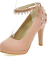 Women's Heels Summer/Round Toe PU Office & Career/Casual Stiletto Heel Imitation Pearl Black / Blue/Pink/White Others