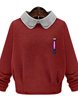 Women's Plus Size Simple Regular Pullover,Color Block Blue / Red / White Peaked Lapel Long Sleeve Others Fall Medium