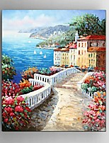 Hand Painted Oil Painting Mediterranean Sea Restaurant Wall Art Decoration with Stretched Framed