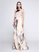 Lanting Bride®Floor-length Chiffon Bridesmaid Dress - Two Pieces Sheath / Column Jewel with Pattern / Print