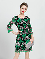 Boutique S Women's Plus Size / Going out Street chic  Sheath Dress Embroidered Round Neck Above Knee  Sleeve