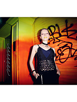LIANGSANSHI  Women's Casual/Daily Street chic Summer Tank Top,Solid Deep V Sleeveless White / Black Polyester Thin