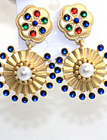 Earring Round Drop Earrings Jewelry Women Fashion Daily / Casual Alloy 1 pair Gold