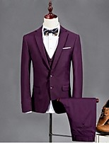 Suits Tailored Fit Notch Single Breasted Two-buttons Polyester Solid 3 Pieces