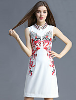 Boutique S Women's Casual/Daily Vintage Shift Dress,Embroidered Shirt Collar Above Knee Sleeveless Polyester Summer
