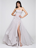 TS Couture® Formal Evening Dress A-line Strapless Sweep / Brush Train Chiffon with Criss Cross / Ruching