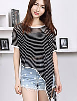 Women's Casual/Daily Simple Short Pullover,Striped White / Black Round Neck Short Sleeve Polyester Summer Thin