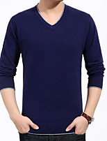 Men's Solid Casual Pullover,Cotton / Polyester Long Sleeve Blue / Gray