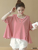 Women's Going out Cute Summer Set Pant,Striped Round Neck Short Sleeve Red Cotton / Polyester Medium