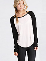 Women's Casual/Daily Street chic Fall / Winter T-shirt,Color Block Round Neck Long Sleeve White Cotton / Rayon Thin