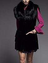 Women's Plus Size Simple Fur Coat,Solid Round Neck Sleeveless Fall Black Faux Fur Medium