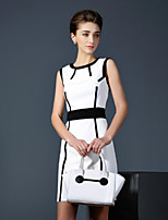 Boutique S Women's Casual/Daily Vintage Shift Dress,Patchwork Round Neck Above Knee Sleeveless White Polyester Summer