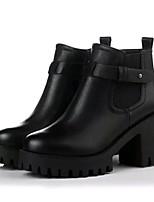 Черный / Серый-Женский-Для прогулок / На каждый день-Дерматин-На платформе-Криперы / Военные ботинки-Ботинки