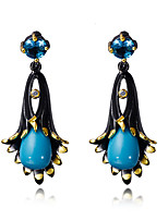 Boucle Forme de Fleur Bijoux 1 paire Mode Mariage / Soirée / Quotidien / Décontracté Zircon / Cuivre Femme Noir / Cuivré