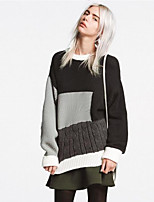 Women's Casual/Daily Street chic Regular Pullover,Color Block  Round Neck Long Sleeve Cotton Spring / Fall Medium