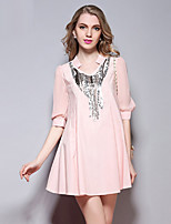 Women's Going out Street chic Loose Dress,Print Round Neck Above Knee Short Sleeve Pink Polyester Summer