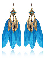 3 Colors 2016 Summer Bohemia Vintage Charm Leaves Drop Earrings Jewelry Rhinestone Feather Earrings For Women