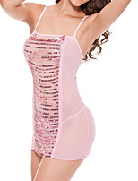 Women Ultra Sexy Nightwear,Sexy Patchwork-Thin Mesh Pink Women's