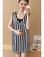 Maternity Going out / Casual/Daily Simple Loose Dress,Striped V Neck Above Knee Sleeveless Black Polyester Summer