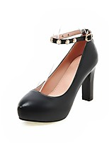Women's Heels Summer / Fall Heels / Round Toe PU Office & Career / Casual Chunky Heel Buckle Black / Pink / White /
