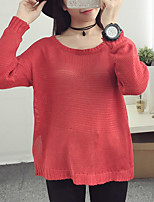 Women's Casual/Daily Street chic Long Pullover,Solid Red / Orange Round Neck Long Sleeve Polyester Fall Thin